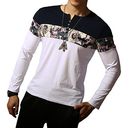 LOGEEYAR Men's Casual Slim Fit Long Sleeve Color Block Printing Henley (Henley Flowers)