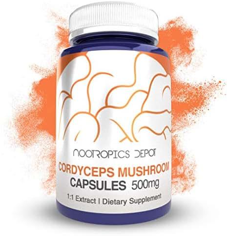 Cordyceps Mushroom Capsules | 500mg | 60 Count | Cordyceps militaris | Organic Whole Fruiting Body Mushroom Exract | Supports Healthy Immune System
