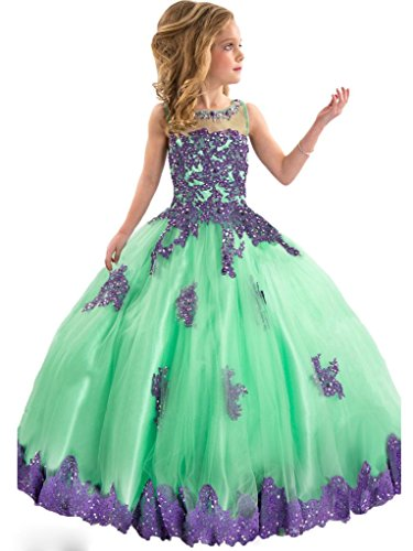Y&C Girls' Ball Gown Appliques Beads O-neck Pageant Dresses 10 US Green Purple by Yc