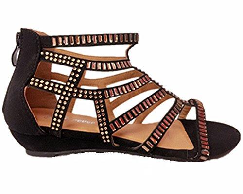 Forever Link Award-22 Womens Low Wedge Diamante Strappy Gladiator Summer Rhinestone Glittering Cut Out Black OsEGntPS0U