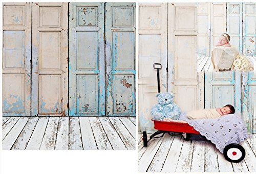 Laeacco 3x5ft Thin Vinyl Photography Backdrops Retro Door Design Wooden Floor Theme Baby Newborn Birthday Photo Backgrounds Studio Props 1x1.5meter