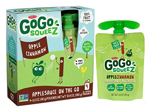 GoGo squeeZ Applesauce on the Go, Apple Cinnamon, 3.2 Ounce Portable BPA-Free Pouches, Gluten-Free, 4 Total Pouches
