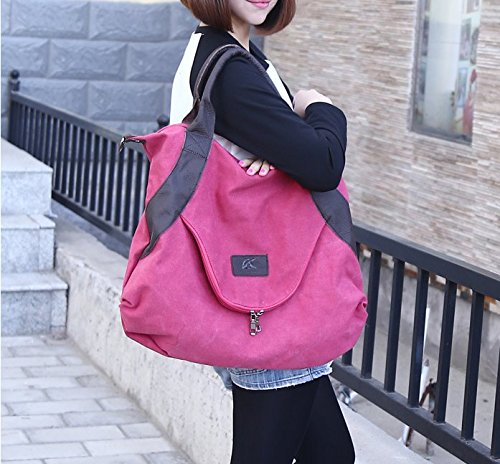 91eb5561b896 xiaoxiongmao Large Pocket Casual Women s Shoulder Cross body Handbags  Canvas Leather Bags (One Size