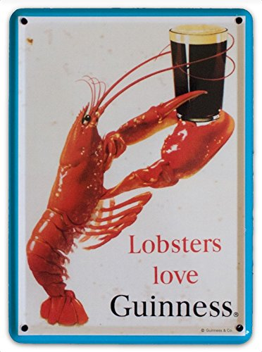 GUINNESS LOBSTER Love Small Vintage Metal Tin Pub Sign -