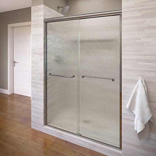 Basco Infinity Semi-Frameless Sliding Shower Door, Fits 44- 47 inch opening, Rain Glass, Silver Finish