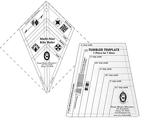 Marti Michell Patchwork Quilting Templates Bundle – 2 Items: Tumbler Template and Kite Ruler by Marti Michell