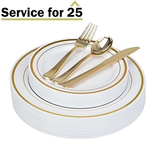 Stock Your Home Elegant 125 Piece Gold Rim Plastic Place Setting Set with Gold Silverware - Solid, Disposable & Heavy-duty Includes: 25 Dinner Plates, 25 Dessert Plates, 25 Forks, 25 - Solid Gold Rims