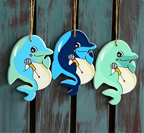 Sea style decoration Mediterranean Style Design Wooden Dolphin Ornament, Nautical Themed Accessories.
