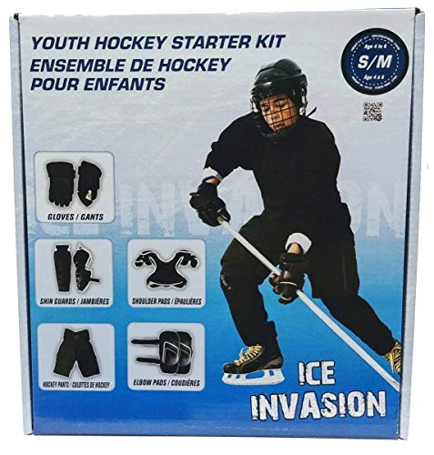 Winnwell Ice Invasion 8-Piece YOUTH Ice Hockey Starter Kit, Pads Gloves Pants