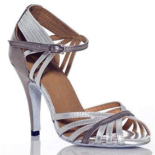 Baile Altura Fondo Baile Zapatos de Baile 8 Suave Alto tacón estándar de Zapatos Latino con de de Zapatos Nacional Las gris de Shangyi salón Mujeres 5cm de de UEYwUqg