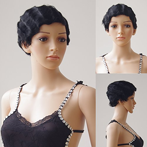 1920s Short Hair (S-noilite 100% Remy Human Hair Wigs Short Pixie Finger Wave Mommy Natural 1920s Wavy Full Wig for Sexy Women Ladies Party Dress (1#-Jet Black))