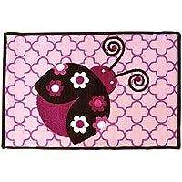 Bacati Ladybug Rug Nylon High Pile Plush, Pink/Chocolate, 24 X 36