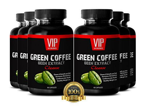 Green Coffee Bean Maximum Weight Loss - Pure Green Coffee Extract 800mg (6 Bottles 360 Capsules) by VIP VITAMINS