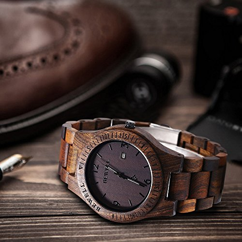 Bewell W086B Mens Wooden Watch Analog Quartz Lightweight Handmade Wood Wrist Watch (Ebony Wood)