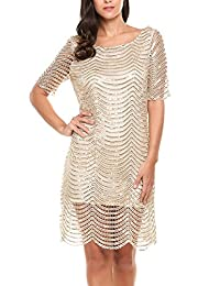 Meaneor Women Short Sleeve Glitter Sequins Cocktail Party Gown Mini Tunic Dress