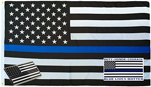- ALBATROS 3 ft x 5 ft Police USA Memorial Flag Decal Sticker Memorial Lapel Pin Set 1 for Home and Parades, Official Party, All Weather Indoors Outdoors