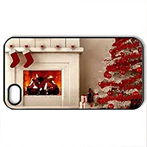 Christmas Tree - Case Cover for iPhone 4 and 4s (Houses Series, Watercolor style, Black)