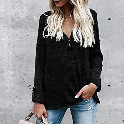 YANG-YI Women Solid Color Knit Sweater Button Shirt Tunic Blouse Loose Casual Tops at  Women's Clothing store
