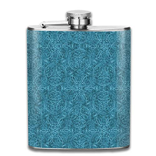 (Oximing Customized Moroccan Teal Textured Pattern Stainless Steel Wine Bottle, Personalized Flask Gift)