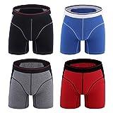 M MOACC Men's Pack 4 Cotton Long Boxer Briefs Underwear No Ride up Low Rise Boxers Brief,L