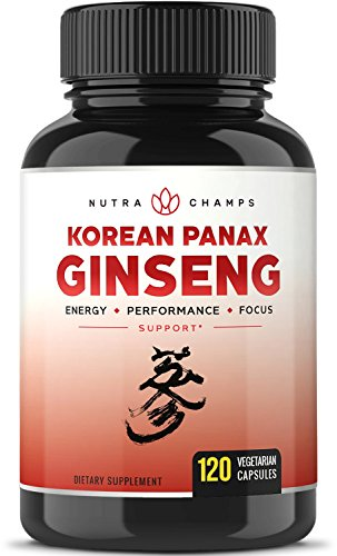 NutraChamps Korean Red Panax Ginseng 1000mg - 120 Vegan Capsules Extra Strength Root Extract Powder Supplement w/ High Ginsenosides for Energy, Mental & Sex Health Pills for Men & Women Ginseng 100 Capsules