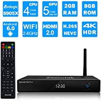 Zoomtak Tv Box M5plus S905X Quad Core Android 6.0 Tv Box Support 4K2K 100M Ethernet 2.4G WiFi Streaming Media Player Black