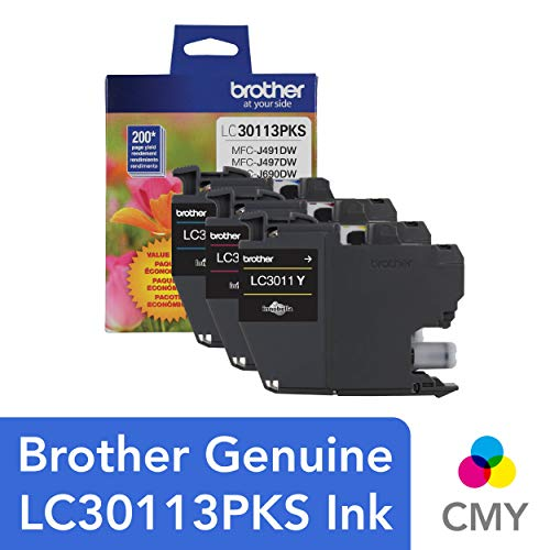 Brother Genuine LC30113PKS 3-Pack Standard Yield Color Ink Cartridges, Page Yield Up to 200 Pages/Cartridge Includes Cyan, Magenta and Yellow, LC3011 ()