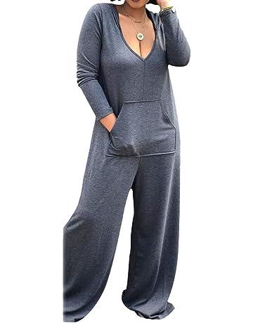 Mujer Mono Atractivo elástico con Cuello en V Manga Larga Camisa con  Capucha Bolsillo Pierna Ancha 605d60a00843