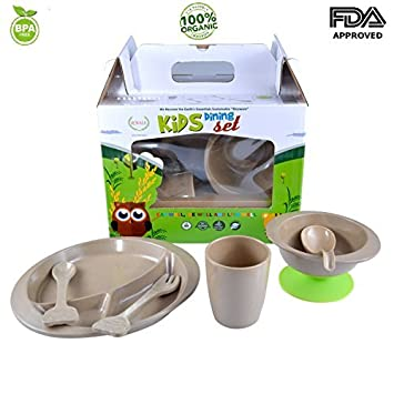7-pieces Toddler Kids infant ORGANIC Dinnerware Including Divided Plate Spill Proof Stay Put Suction  sc 1 st  Amazon.com & Amazon.com : 7-pieces Toddler Kids infant ORGANIC Dinnerware ...