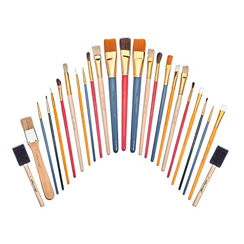 - Academy Art Supply - 25 Piece Paintbrush All-Purpose Value Pack with Bristle, Nylon, Sponge, and Camel Hair Brushes for Acrylic, Oil, Watercolor, and Gouache