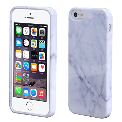For iPhone SE ,GBSELL Marble Texture Print TPU Cover Case Skin For iPhone SE (White)