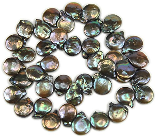 (Beads, One Strand Freshwater Pearl Lavender Silver Baroque Coin 13x10mm -16