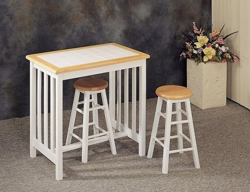 Tile Top Dinette (Mission Style Breakfast Set with White Tile Top with Stools)