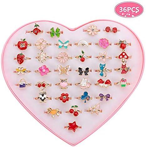 36 PCS Kinderringe Mädchen Einstellbare Ringe Cute Kinder Ringe Fingerring mit Herzform Box, Keine Vervielfältigung, Kid Spielen und Verkleiden sich Ringe Schmuck Geschenke, Zufällige Form und Farbe