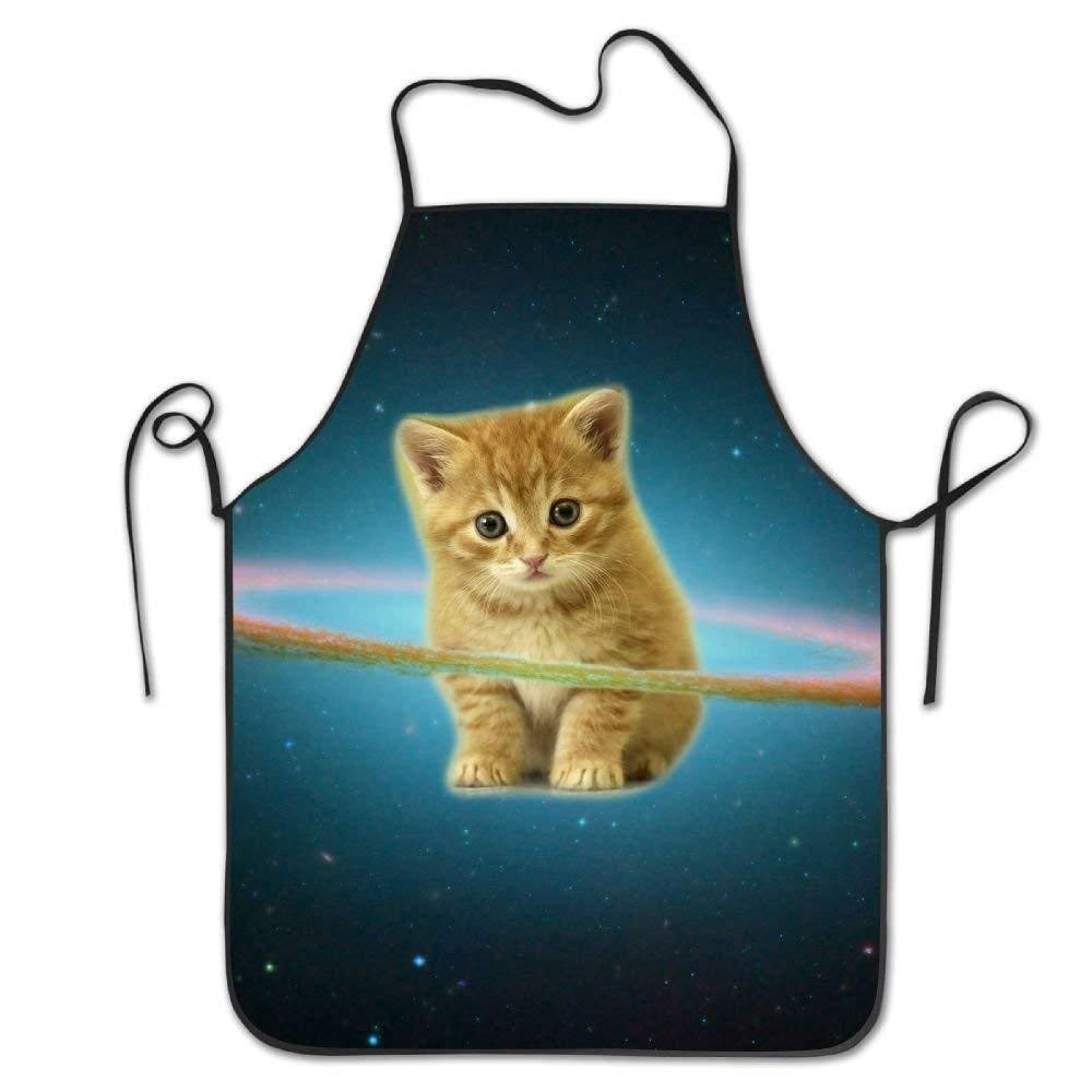 Liliynice Space Galaxy Cute Cat Deluxe Aprons Personalized Printing Kitchen Apron