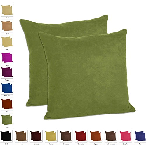MoonRest - Faux Suede Decorative Pillow Shams Solid Colors (Set of 2) (18