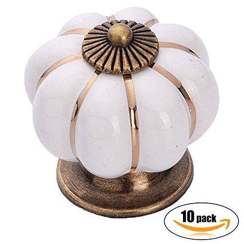 10pcs Antique Pumpkin Ceramic Door Knobs, Handles Pulls for Cabinets, Cupboard Dresser, Drawers, Kitchen Furniture or Kids Room (Pearl White)