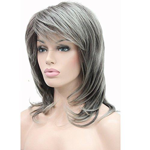 Lydell Long Soft Shaggy Layered Classic Cap Full Synthetic Wig Wigs (AB76 Grey Ombre) ()