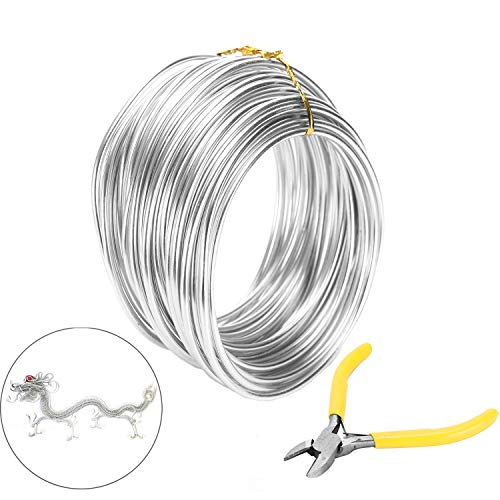 Messar Aluminum Bonsai Coaching Wire, 3mm Aluminium Bonsai Plant Coaching Line 33.3ft Craft Aluminum Backyard Wire with Slicing Plier for Jewelry Making, Modelling Bonsai & DIY Artwork Crafts (Silver)