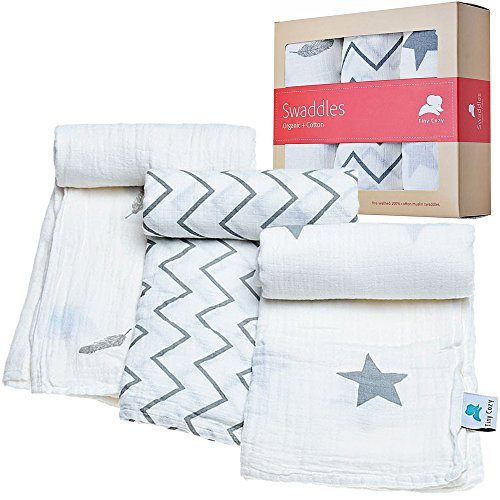 Muslin Swaddle Blankets | 100% Organic Cotton | Great for Baby Shower Gift | Tiny Cozy | Suitable for Boys & Girls | Pack of 3 | White Swaddle Blanket ()