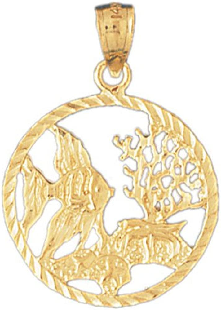 14K Yellow Gold Tropical Fish and Coral Pendant on an Adjustable Chain Necklace