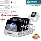 Fastest Charging Station with 6 USB Cables,QC 3.0,iWatch Holder,COSOOS 6-Port USB Quick Charging Stand,Docking Station Organizer Hub for iPhone,iPad,iWatch,Apple,Samsung,Tablets,Kindle (Silver White) Review