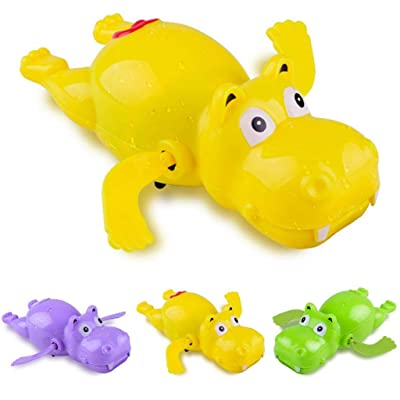Kekailu Clockwork Bath Toy,1Pc Cartoon Swimming Hippo Animal Clockwork Wind up Fun Bath Water Kids Toy,Random Color: Home & Kitchen