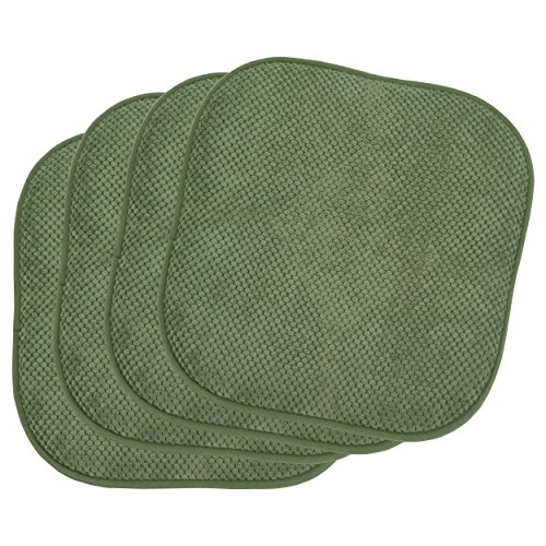 Bounce Comfort 4 Piece Bon Appetite Cushioned Chair Pad Set, 4-Pack, Fern Green