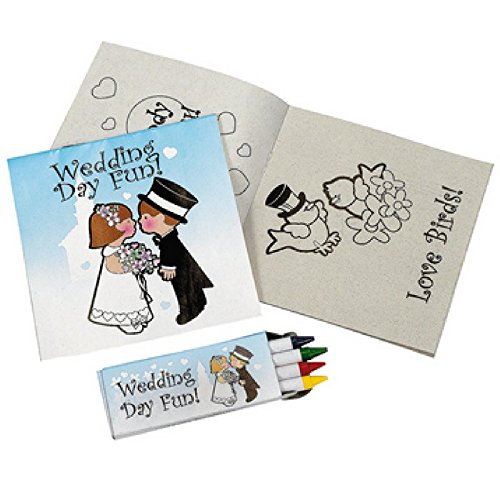 BizzyBecca Wedding Activities for Kids - Individually Packaged Wedding Coloring Books and Crayons, Wedding Favor Bags, Paper Wedding Childrens Activity Placemats and Scavenger Hunt Sheets by BizzyBecca (Image #1)