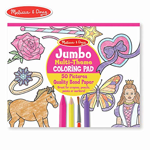 "Melissa & Doug Jumbo 50-Page Kids' Coloring Pad Paper; 11"" x 14"" Oversized Sheets; Horses, Hearts, Flowers, and More)"