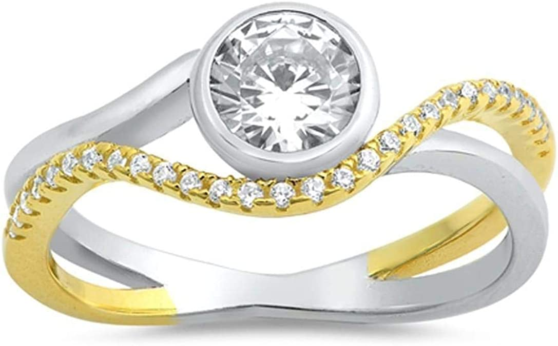 Stainless Steel Bezel-Set Oval Twisted Engagement Ring with Clear CZ