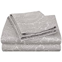 Cotton Rich 600 Thread Count Twin XL Sheet Set Italian Paisley, Grey