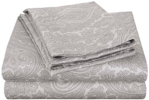- Cotton Blend 600 Thread Count, Deep Pocket, Soft, Wrinkle Resistant 4-Piece Full Bed Sheet Set, Paisley, Grey