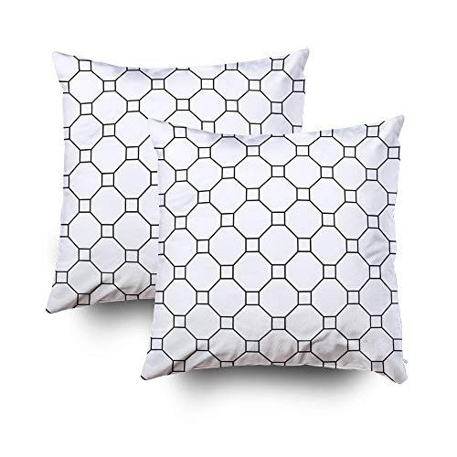 Musesh Holiday Throw Pillow Case, Repeated White Figures On Black Background Geometric Wallpaper Seamless Surface Pattern De for Sofa Home Decorative Pillowcase 20X20 2Pack Pillow Covers (Line Cape Architectural)